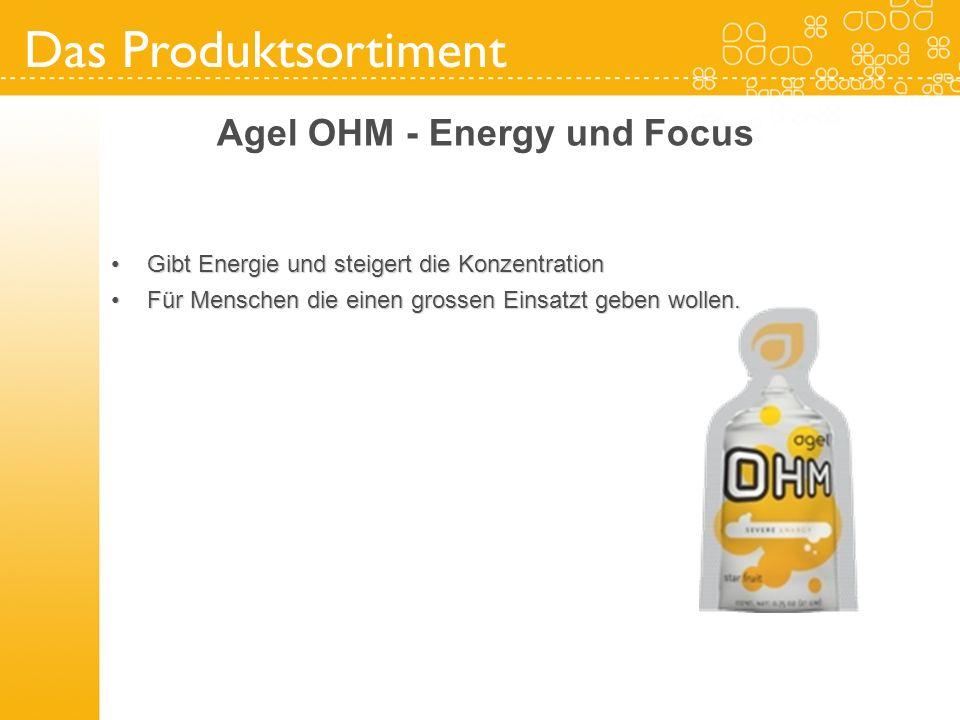 Das Produktsortiment Agel OHM - Energy und Focus Gibt Energie und steigert die KonzentrationGibt Energie und steigert die Konzentration Für Menschen d