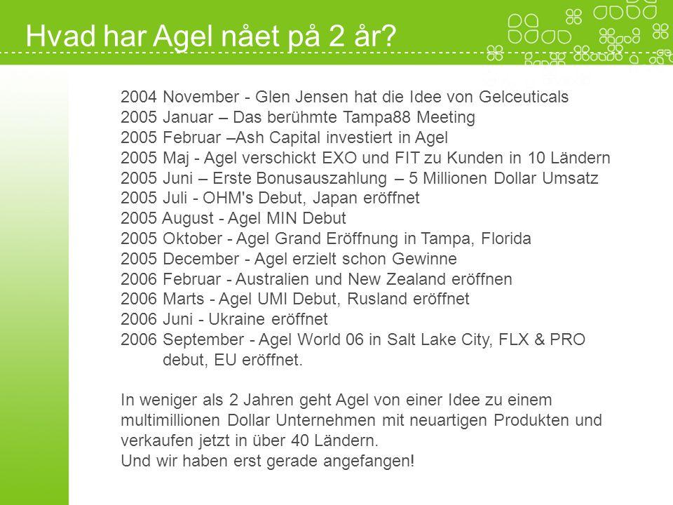 2004 November - Glen Jensen hat die Idee von Gelceuticals 2005 Januar – Das berühmte Tampa88 Meeting 2005 Februar –Ash Capital investiert in Agel 2005