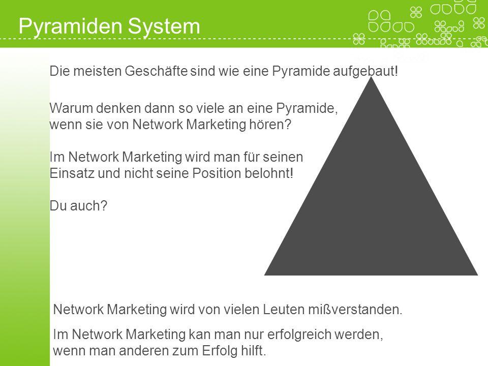 Pyramiden System Network Marketing wird von vielen Leuten mißverstanden. Im Network Marketing kan man nur erfolgreich werden, wenn man anderen zum Erf