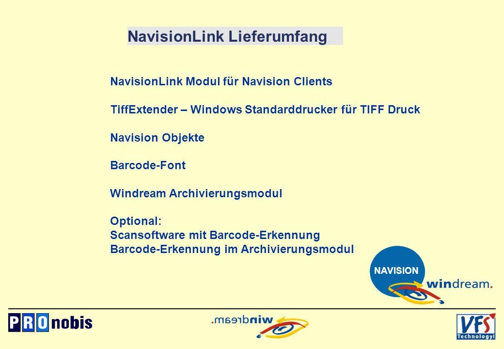 NavisionLink Lieferumfang NavisionLink Modul für Navision Clients TiffExtender – Windows Standarddrucker für TIFF Druck Navision Objekte Barcode-Font