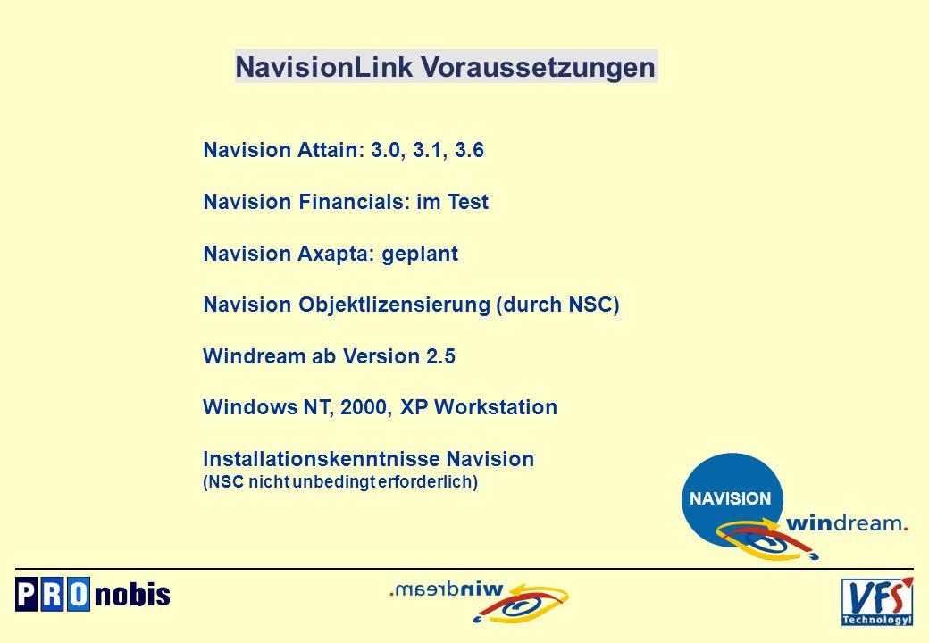 NavisionLink Voraussetzungen Navision Attain: 3.0, 3.1, 3.6 Navision Financials: im Test Navision Axapta: geplant Navision Objektlizensierung (durch N