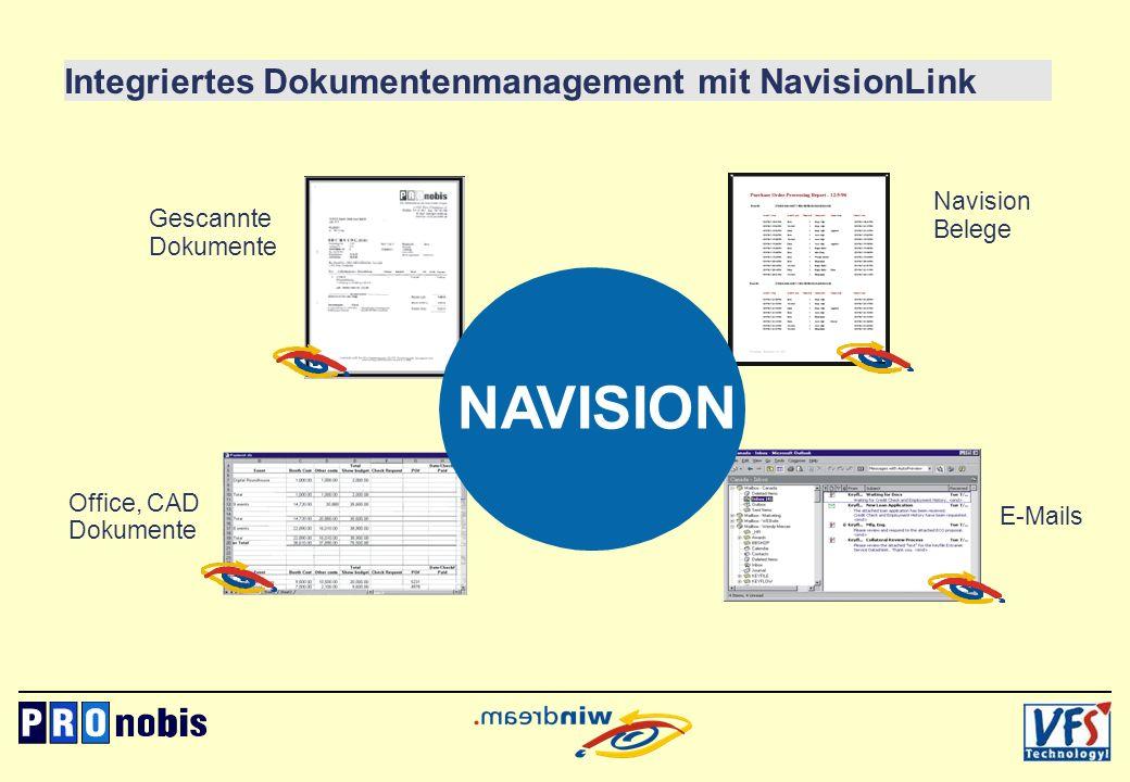 Office, CAD Dokumente NAVISION Gescannte Dokumente Navision Belege E-Mails Integriertes Dokumentenmanagement mit NavisionLink