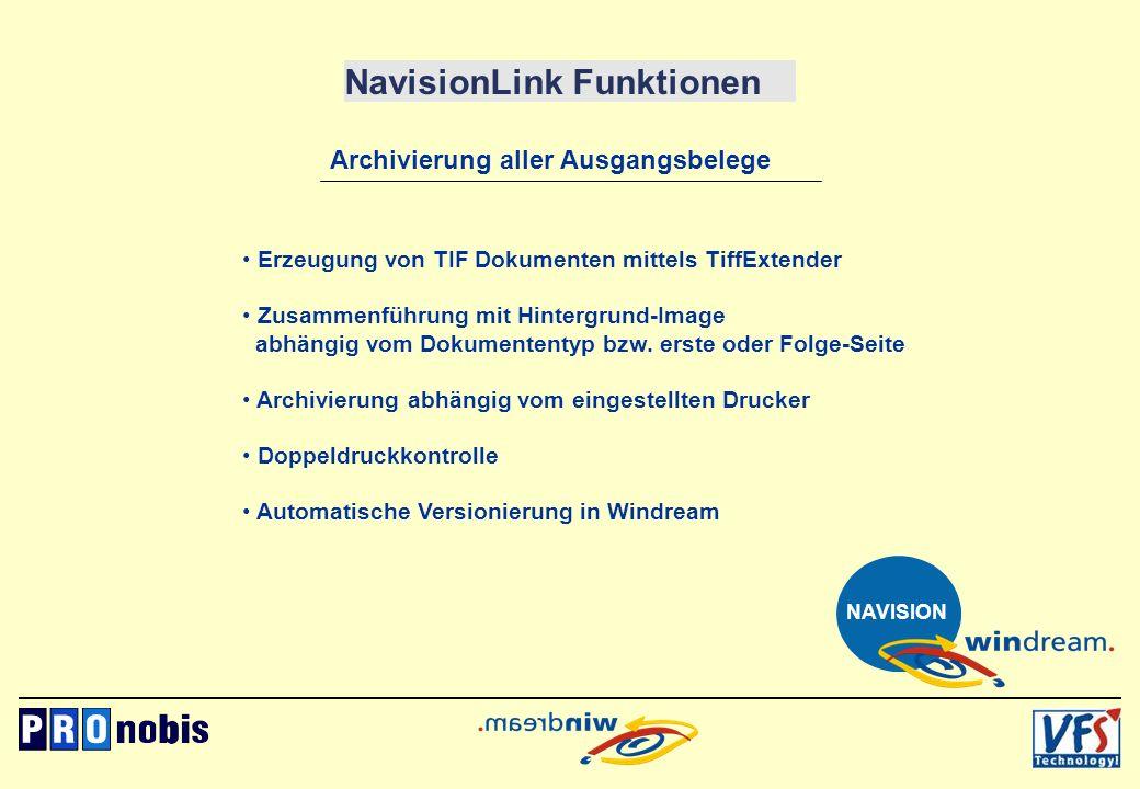 NavisionLink Funktionen Archivierung aller Ausgangsbelege Erzeugung von TIF Dokumenten mittels TiffExtender Zusammenführung mit Hintergrund-Image abhä