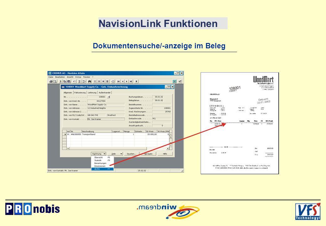 NavisionLink Funktionen Dokumentensuche/-anzeige im Beleg 1 0 8 0 0 1 1 0 8 0 0 1