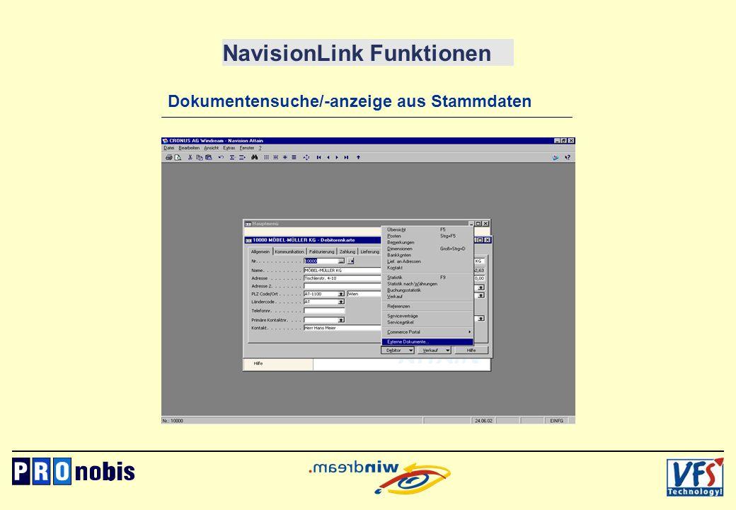 NavisionLink Funktionen Dokumentensuche/-anzeige aus Stammdaten