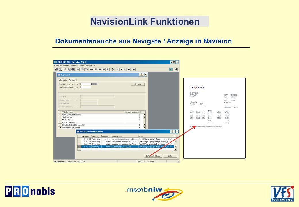 NavisionLink Funktionen Dokumentensuche aus Navigate / Anzeige in Navision
