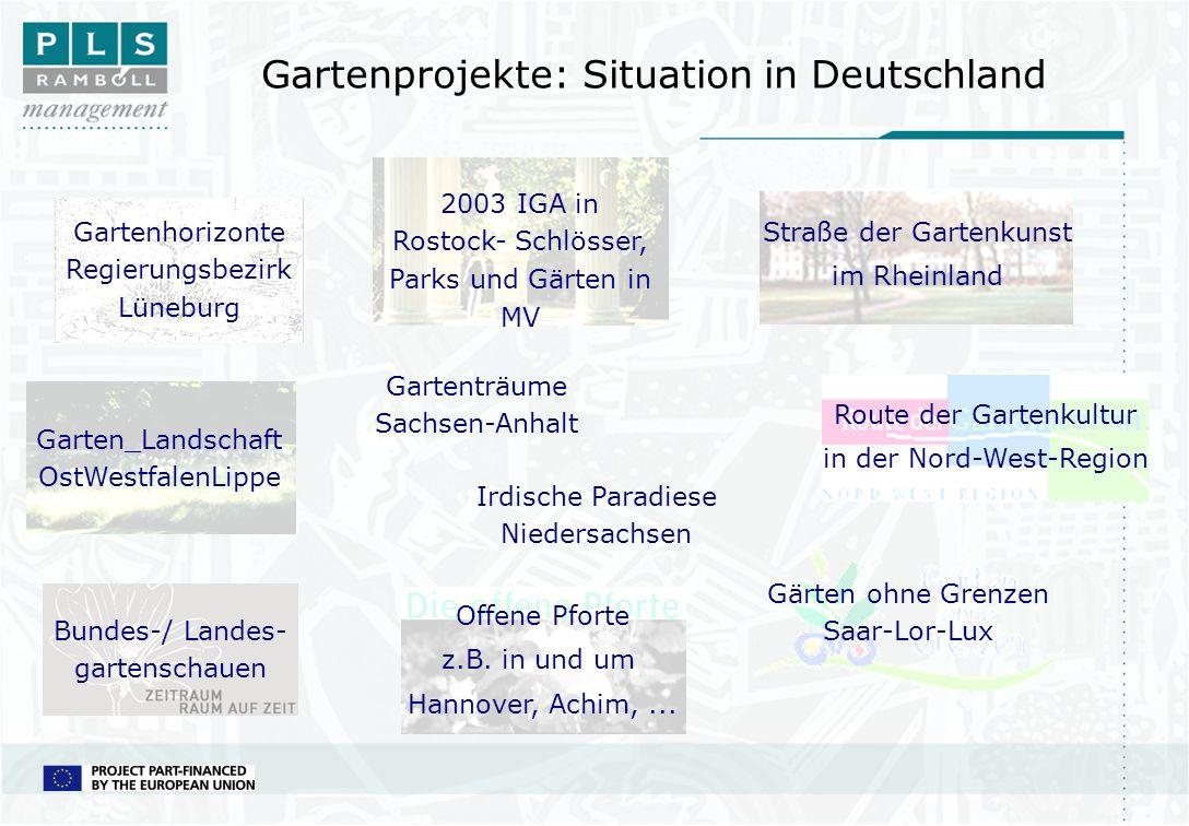 Gartenprojekte: Situation in Deutschland Straße der Gartenkunst im Rheinland Route der Gartenkultur in der Nord-West-Region Offene Pforte z.B. in und