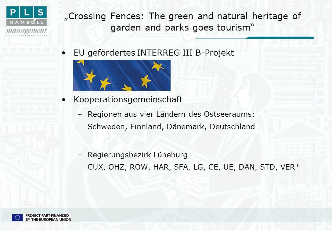 Crossing Fences: The green and natural heritage of garden and parks goes tourism EU gefördertes INTERREG III B-Projekt Kooperationsgemeinschaft –Regio