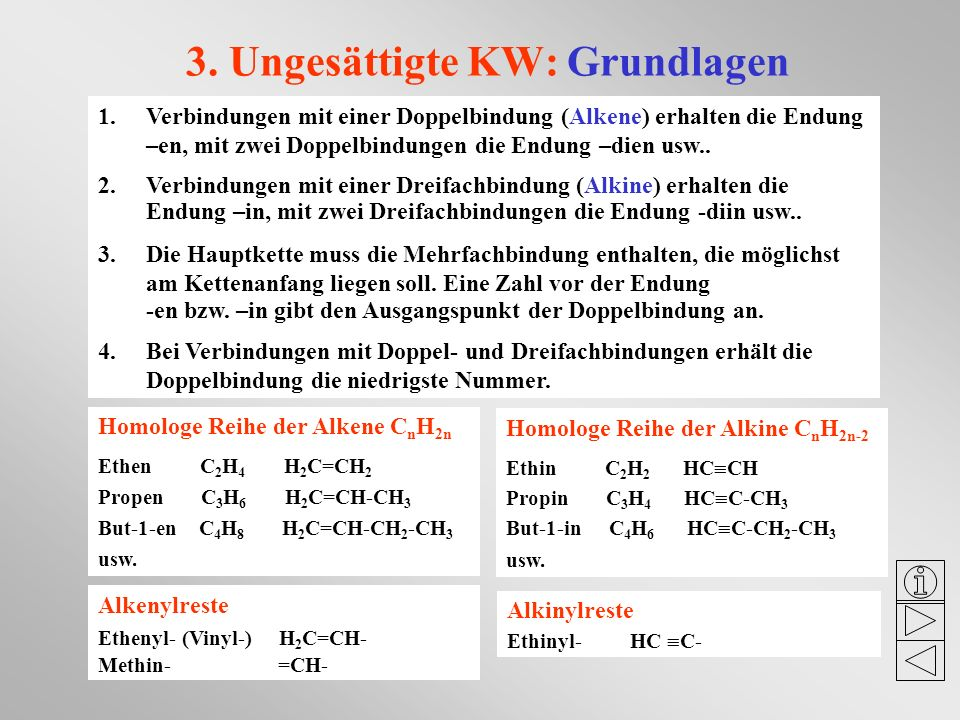 3. Ungesättigte KW: Grundlagen 1.Verbindungen mit einer Doppelbindung (Alkene) erhalten die Endung –en, mit zwei Doppelbindungen die Endung –dien usw.