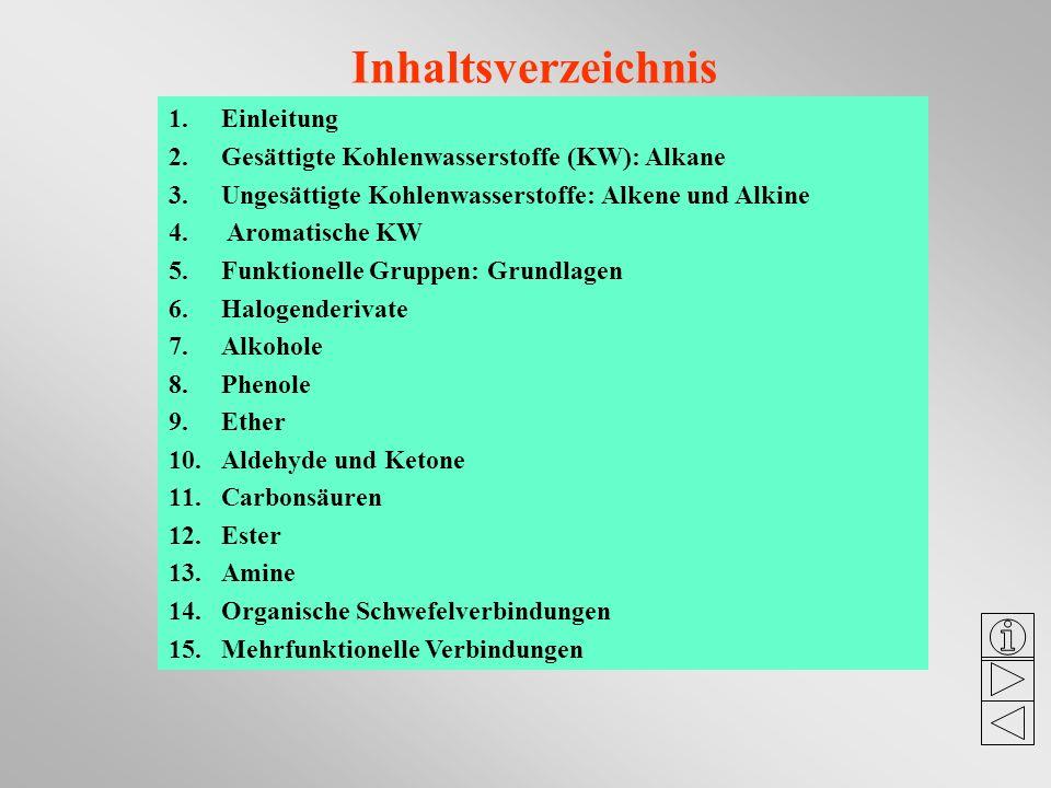 Inhaltsverzeichnis 1.Einleitung 2.Gesättigte Kohlenwasserstoffe (KW): Alkane 3.Ungesättigte Kohlenwasserstoffe: Alkene und Alkine 4. Aromatische KW 5.