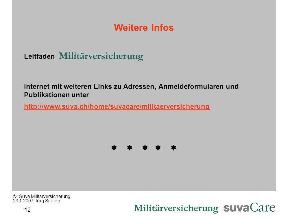 Militärversicherung 12 Weitere Infos Leitfaden Militärversicherung Internet mit weiteren Links zu Adressen, Anmeldeformularen und Publikationen unter