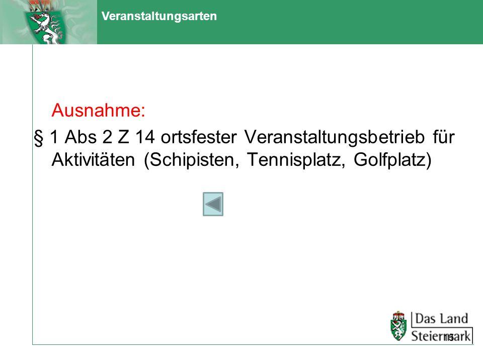 Veranstaltungsarten Ausnahme: § 1 Abs 2 Z 14 ortsfester Veranstaltungsbetrieb für Aktivitäten (Schipisten, Tennisplatz, Golfplatz) 15