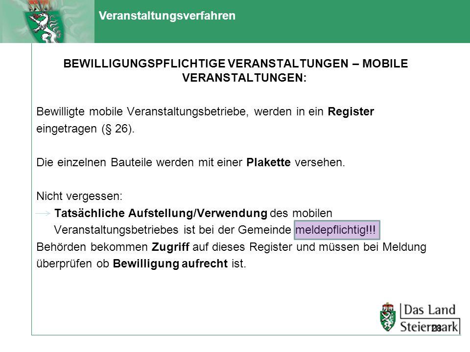 Veranstaltungsverfahren BEWILLIGUNGSPFLICHTIGE VERANSTALTUNGEN – MOBILE VERANSTALTUNGEN: Bewilligte mobile Veranstaltungsbetriebe, werden in ein Regis