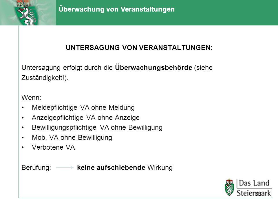 Überwachung von Veranstaltungen UNTERSAGUNG VON VERANSTALTUNGEN: Untersagung erfolgt durch die Überwachungsbehörde (siehe Zuständigkeit!). Wenn: Melde