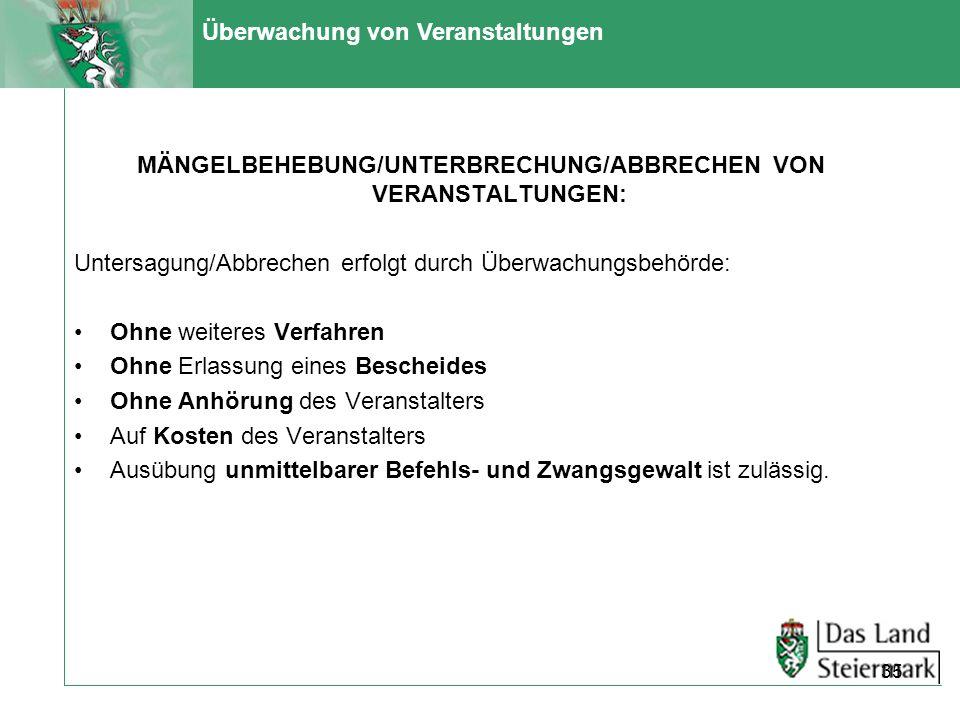 Überwachung von Veranstaltungen MÄNGELBEHEBUNG/UNTERBRECHUNG/ABBRECHEN VON VERANSTALTUNGEN: Untersagung/Abbrechen erfolgt durch Überwachungsbehörde: O