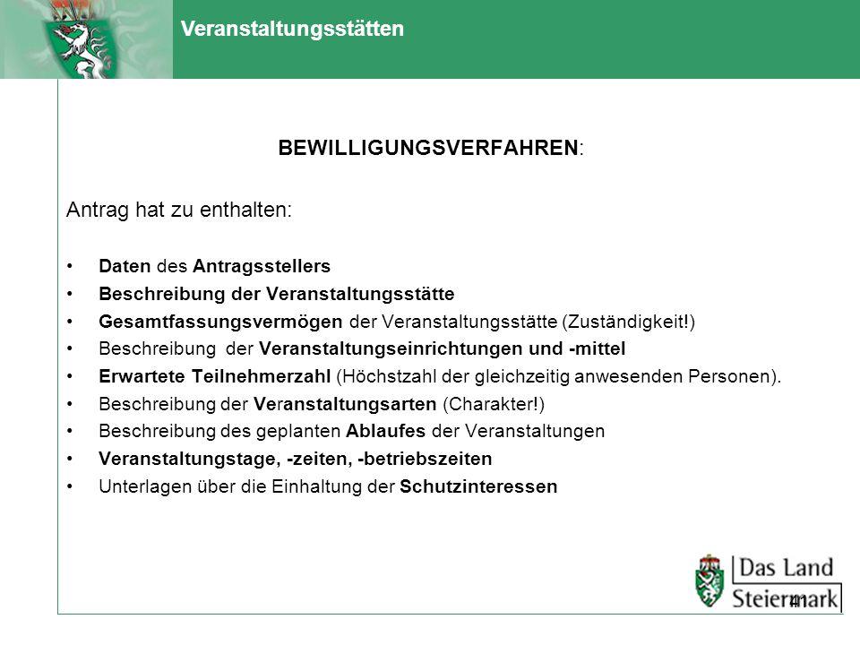 Veranstaltungsstätten BEWILLIGUNGSVERFAHREN: Antrag hat zu enthalten: Daten des Antragsstellers Beschreibung der Veranstaltungsstätte Gesamtfassungsve