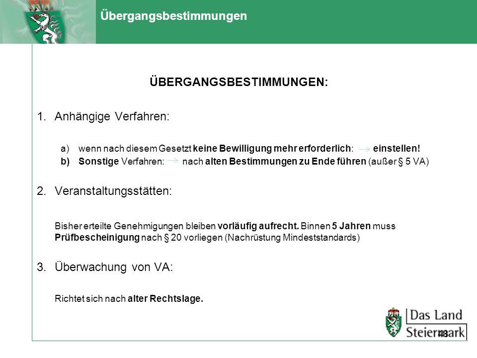 Übergangsbestimmungen ÜBERGANGSBESTIMMUNGEN: 1.Anhängige Verfahren: a)wenn nach diesem Gesetzt keine Bewilligung mehr erforderlich: einstellen! b)Sons