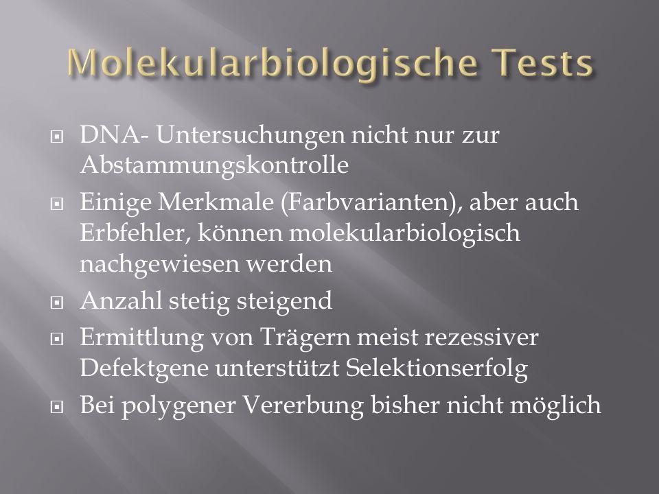 DNA- Untersuchungen nicht nur zur Abstammungskontrolle Einige Merkmale (Farbvarianten), aber auch Erbfehler, können molekularbiologisch nachgewiesen w