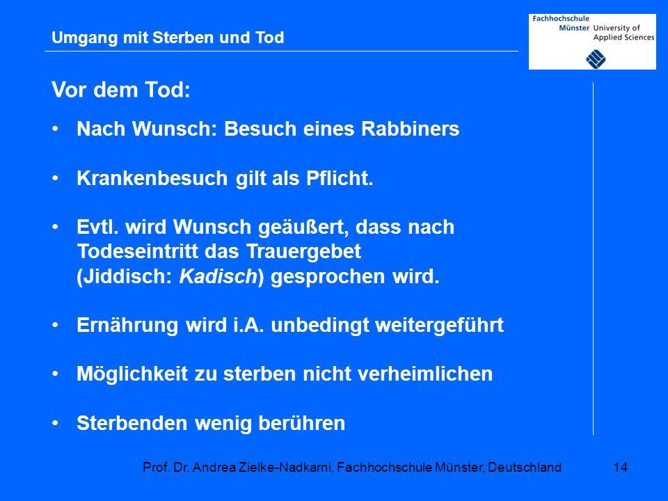 Prof. Dr. Andrea Zielke-Nadkarni, Fachhochschule Münster, Deutschland14 Umgang mit Sterben und Tod Vor dem Tod: Nach Wunsch: Besuch eines Rabbiners Kr