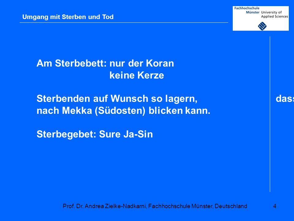 Prof. Dr. Andrea Zielke-Nadkarni, Fachhochschule Münster, Deutschland4 Umgang mit Sterben und Tod Am Sterbebett: nur der Koran keine Kerze Sterbenden