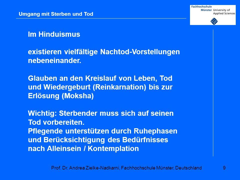 Prof. Dr. Andrea Zielke-Nadkarni, Fachhochschule Münster, Deutschland9 Umgang mit Sterben und Tod Im Hinduismus existieren vielfältige Nachtod-Vorstel