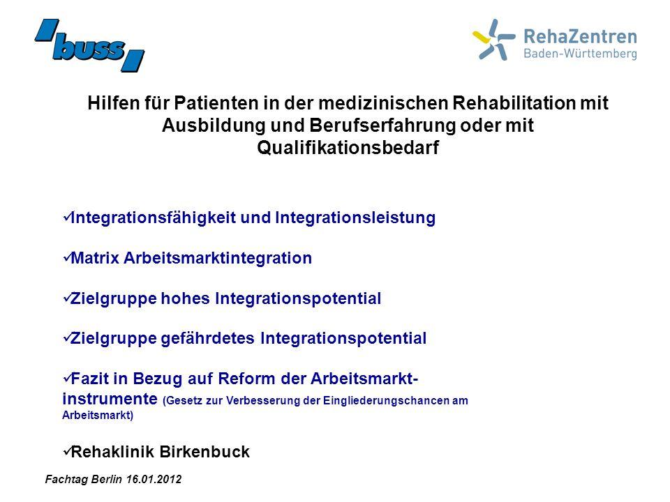 Hilfen für Patienten in der medizinischen Rehabilitation mit Ausbildung und Berufserfahrung oder mit Qualifikationsbedarf Integrationsfähigkeit und In