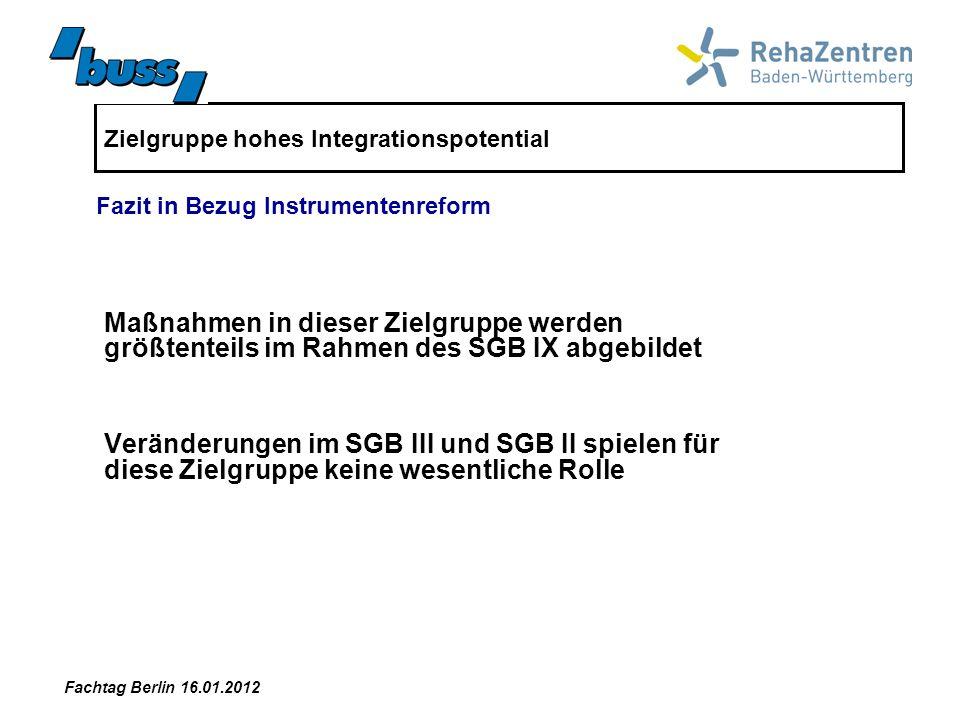 Zielgruppe hohes Integrationspotential Maßnahmen in dieser Zielgruppe werden größtenteils im Rahmen des SGB IX abgebildet Veränderungen im SGB III und