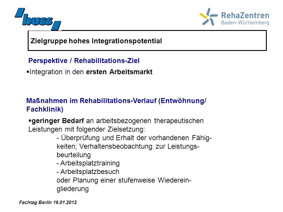 Zielgruppe hohes Integrationspotential Integration in den ersten Arbeitsmarkt Maßnahmen im Rehabilitations-Verlauf (Entwöhnung/ Fachklinik) Perspektiv