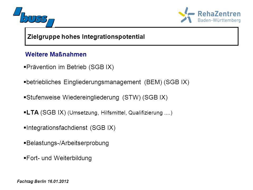 Zielgruppe hohes Integrationspotential Maßnahmen in dieser Zielgruppe werden größtenteils im Rahmen des SGB IX abgebildet Veränderungen im SGB III und SGB II spielen für diese Zielgruppe keine wesentliche Rolle Fazit in Bezug Instrumentenreform Fachtag Berlin 16.01.2012
