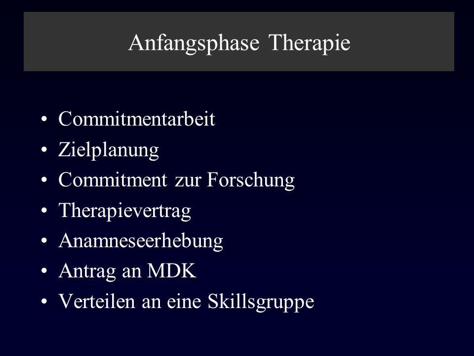Anfangsphase Therapie Commitmentarbeit Zielplanung Commitment zur Forschung Therapievertrag Anamneseerhebung Antrag an MDK Verteilen an eine Skillsgru