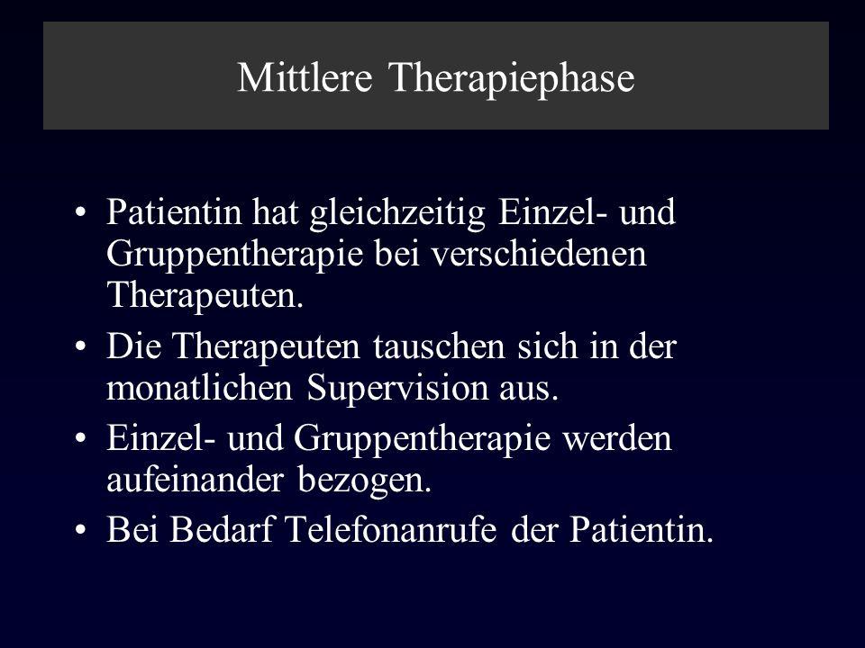 Mittlere Therapiephase Patientin hat gleichzeitig Einzel- und Gruppentherapie bei verschiedenen Therapeuten. Die Therapeuten tauschen sich in der mona