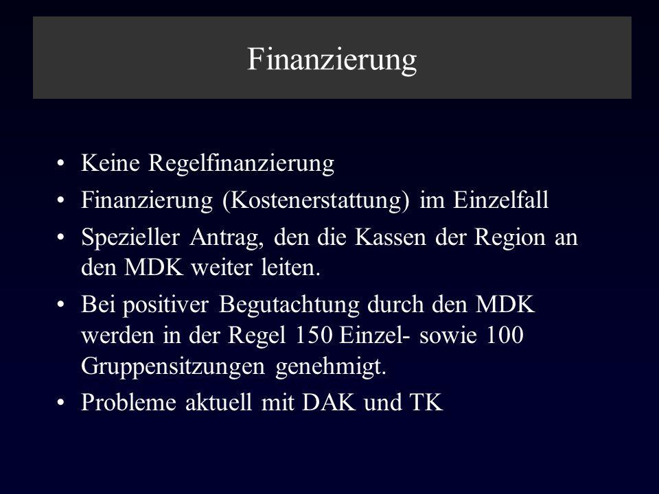 Finanzierung Keine Regelfinanzierung Finanzierung (Kostenerstattung) im Einzelfall Spezieller Antrag, den die Kassen der Region an den MDK weiter leit