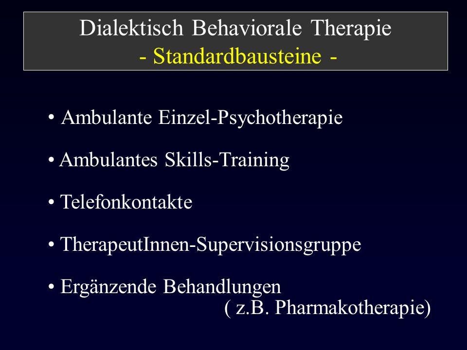 Ambulante Einzel-Psychotherapie Ambulantes Skills-Training Telefonkontakte TherapeutInnen-Supervisionsgruppe Ergänzende Behandlungen ( z.B. Pharmakoth