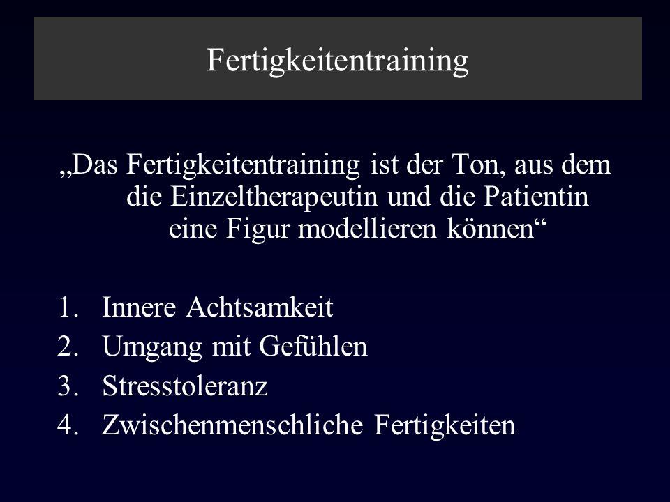Fertigkeitentraining Das Fertigkeitentraining ist der Ton, aus dem die Einzeltherapeutin und die Patientin eine Figur modellieren können 1.Innere Acht