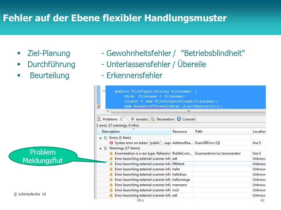 TFH Berlin Fehler auf der Ebene flexibler Handlungsmuster Ziel-Planung - Gewohnheitsfehler /
