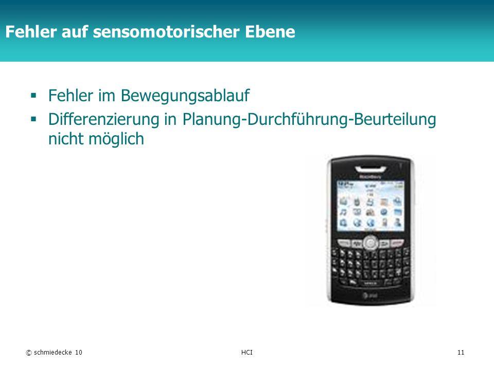 TFH Berlin Fehler auf sensomotorischer Ebene Fehler im Bewegungsablauf Differenzierung in Planung-Durchführung-Beurteilung nicht möglich © schmiedecke