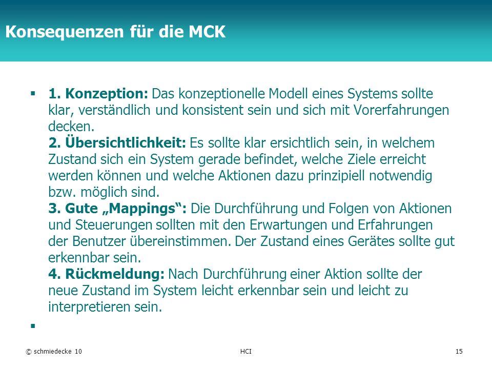 TFH Berlin Konsequenzen für die MCK 1. Konzeption: Das konzeptionelle Modell eines Systems sollte klar, verständlich und konsistent sein und sich mit