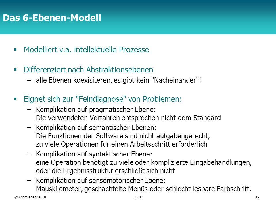 TFH Berlin Das 6-Ebenen-Modell Modelliert v.a. intellektuelle Prozesse Differenziert nach Abstraktionsebenen –alle Ebenen koexisiteren, es gibt kein