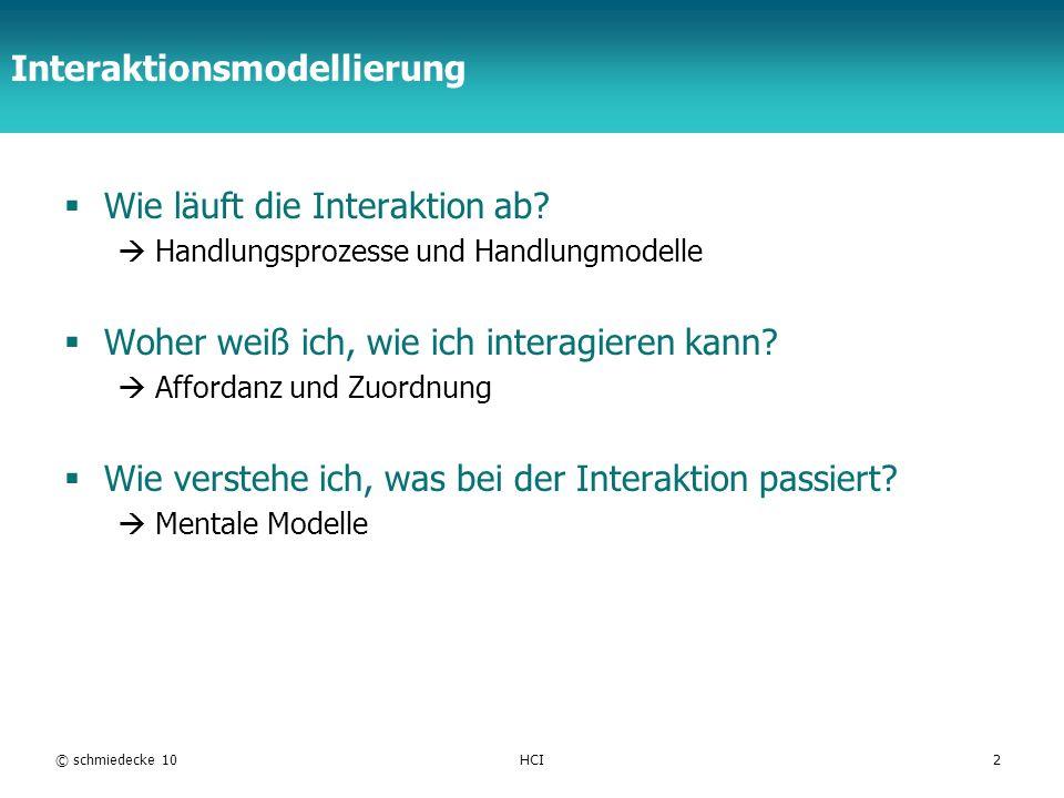 TFH Berlin Interaktionsmodellierung Wie läuft die Interaktion ab? Handlungsprozesse und Handlungmodelle Woher weiß ich, wie ich interagieren kann? Aff