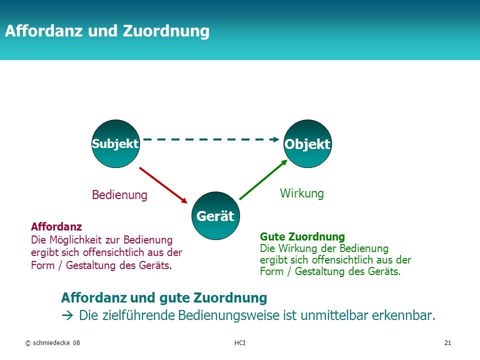 TFH Berlin © schmiedecke 08HCI21 Affordanz und Zuordnung Gerät Objekt Subjekt Bedienung Wirkung Gute Zuordnung Die Wirkung der Bedienung ergibt sich o