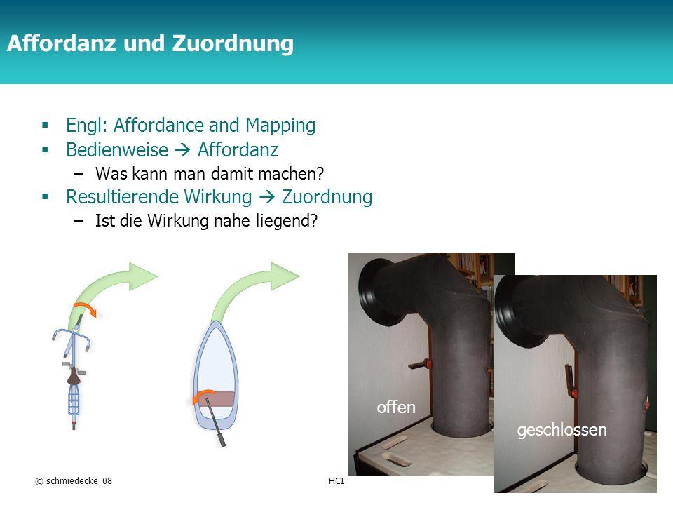 TFH Berlin © schmiedecke 08HCI22 Affordanz und Zuordnung Engl: Affordance and Mapping Bedienweise Affordanz –Was kann man damit machen? Resultierende
