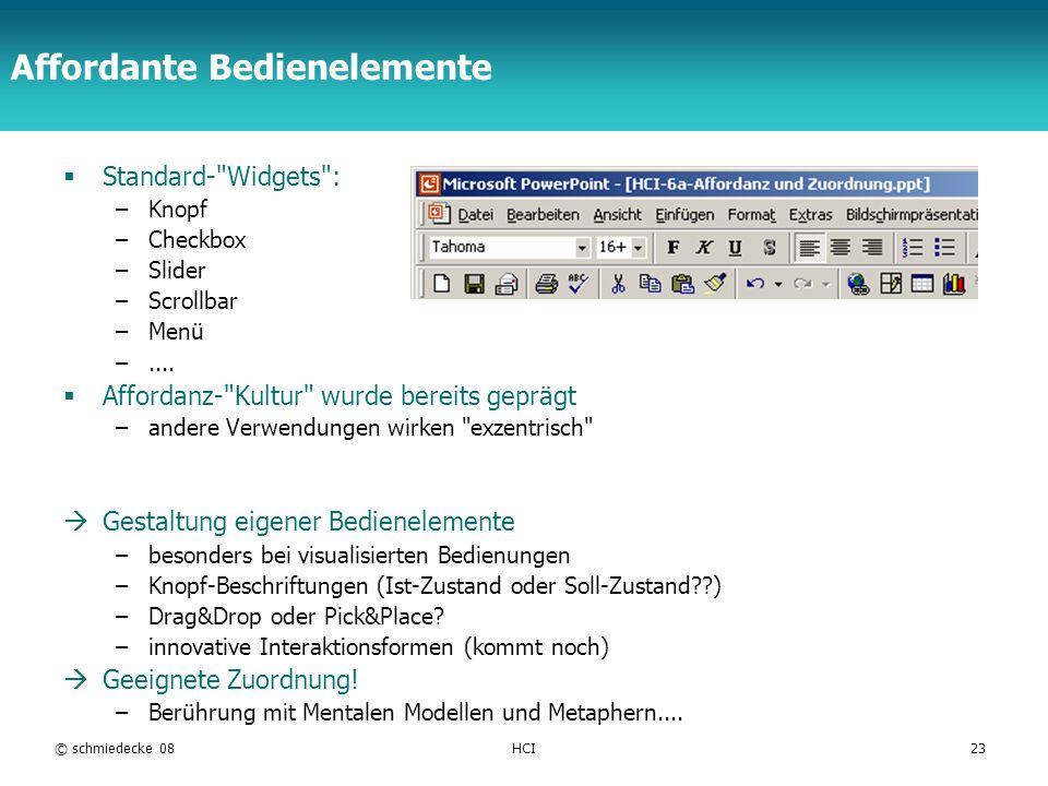 TFH Berlin © schmiedecke 08HCI23 Affordante Bedienelemente Standard-