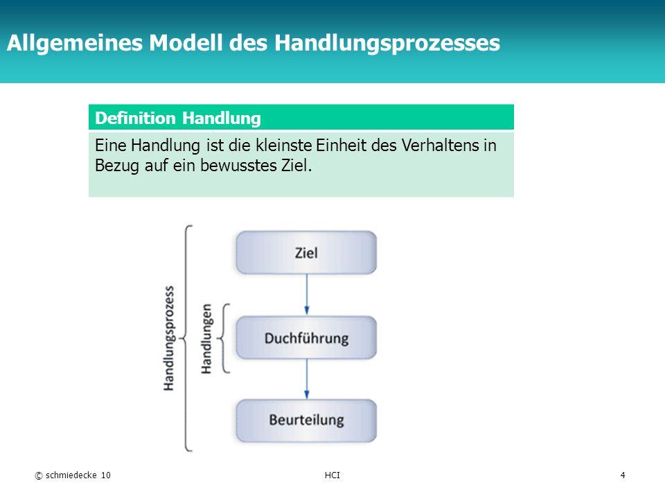 TFH Berlin Allgemeines Modell des Handlungsprozesses Definition Handlung Eine Handlung ist die kleinste Einheit des Verhaltens in Bezug auf ein bewuss