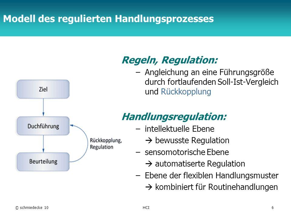 TFH Berlin Regulationsebenen: Beispiele © schmiedecke 10HCI7 Flexible Handlungsmuster: Ein Routinebenutzer schreibt eine SMS: das Eintippen der SMS wird nur durch das Lesen der eingegebenen Wörter kontrolliert.