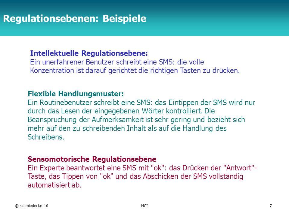 TFH Berlin Regulationsebenen: Beispiele © schmiedecke 10HCI7 Flexible Handlungsmuster: Ein Routinebenutzer schreibt eine SMS: das Eintippen der SMS wi