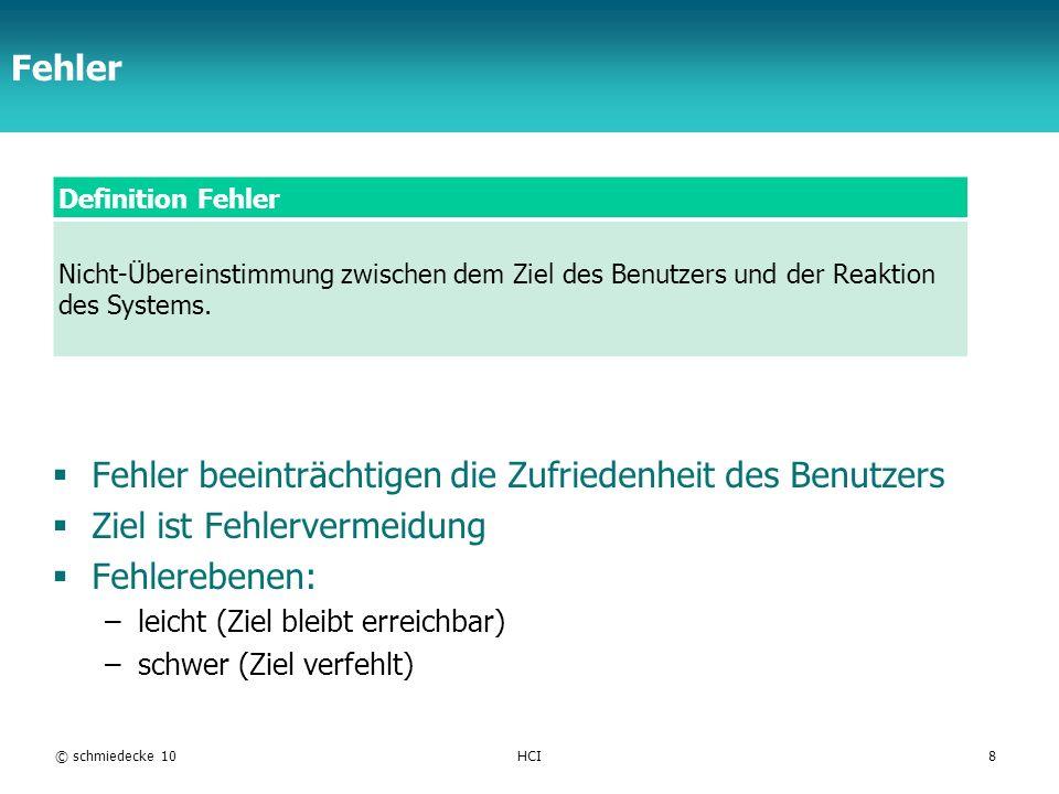 TFH Berlin Fehler Definition Fehler Nicht-Übereinstimmung zwischen dem Ziel des Benutzers und der Reaktion des Systems. Fehler beeinträchtigen die Zuf