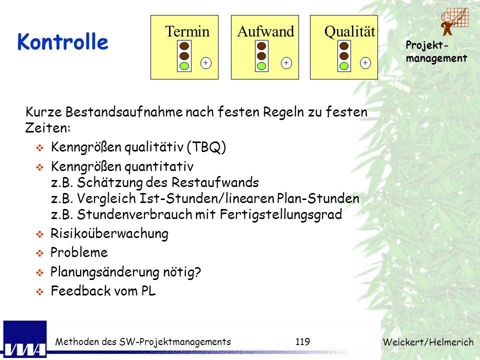 Projekt- management Weickert/Helmerich Methoden des SW-Projektmanagements118 PM-Techniken pro Phase Produktstruktur, Projektstruktur, Arbeitspaket, Sc