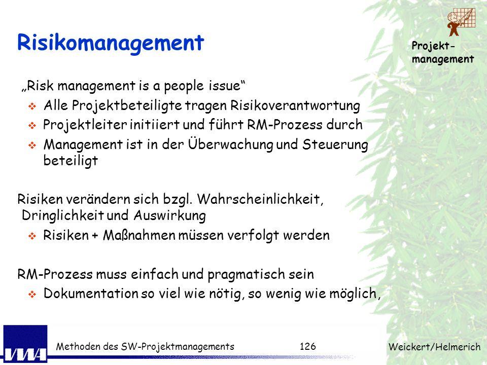 Projekt- management Weickert/Helmerich Methoden des SW-Projektmanagements125 Change-Request-Verfahren Änderungswünsche werden gebündelt Es findet eine