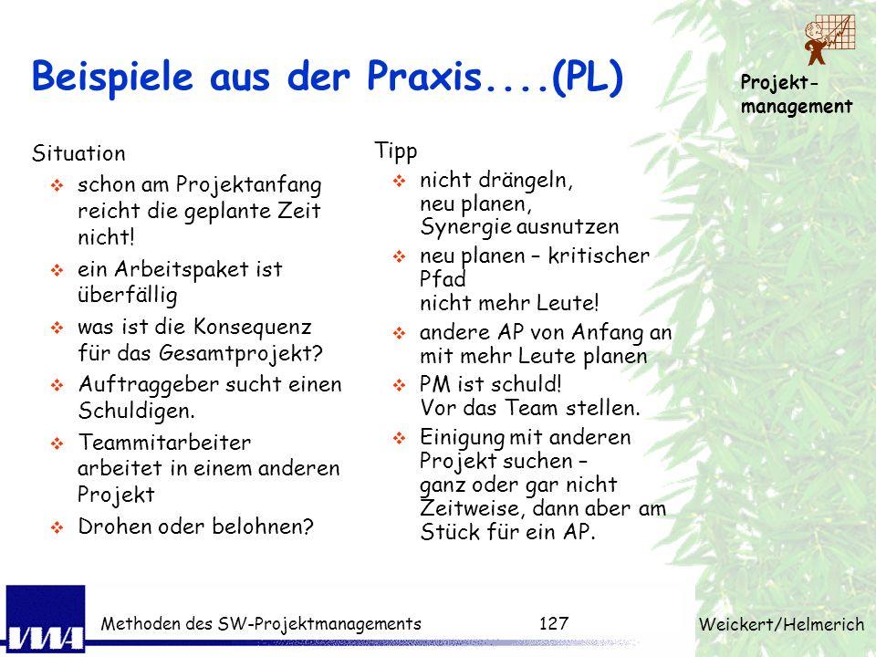 Projekt- management Weickert/Helmerich Methoden des SW-Projektmanagements126 Risikomanagement Risk management is a people issue Alle Projektbeteiligte