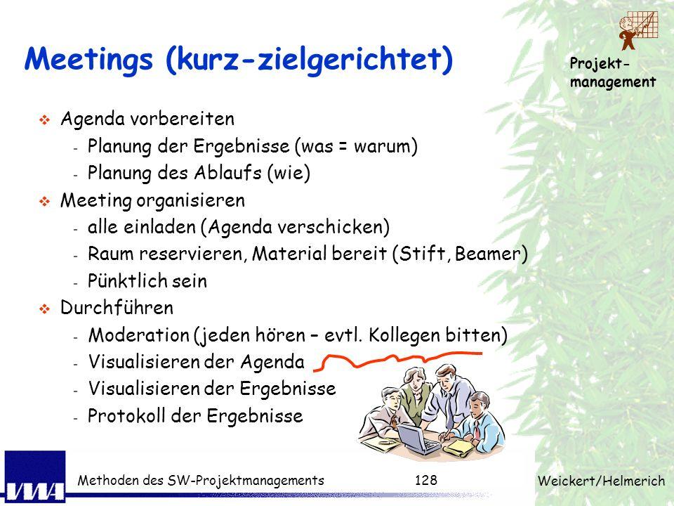 Projekt- management Weickert/Helmerich Methoden des SW-Projektmanagements127 Beispiele aus der Praxis....(PL) Situation schon am Projektanfang reicht